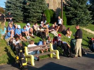 Golfers meet at a course