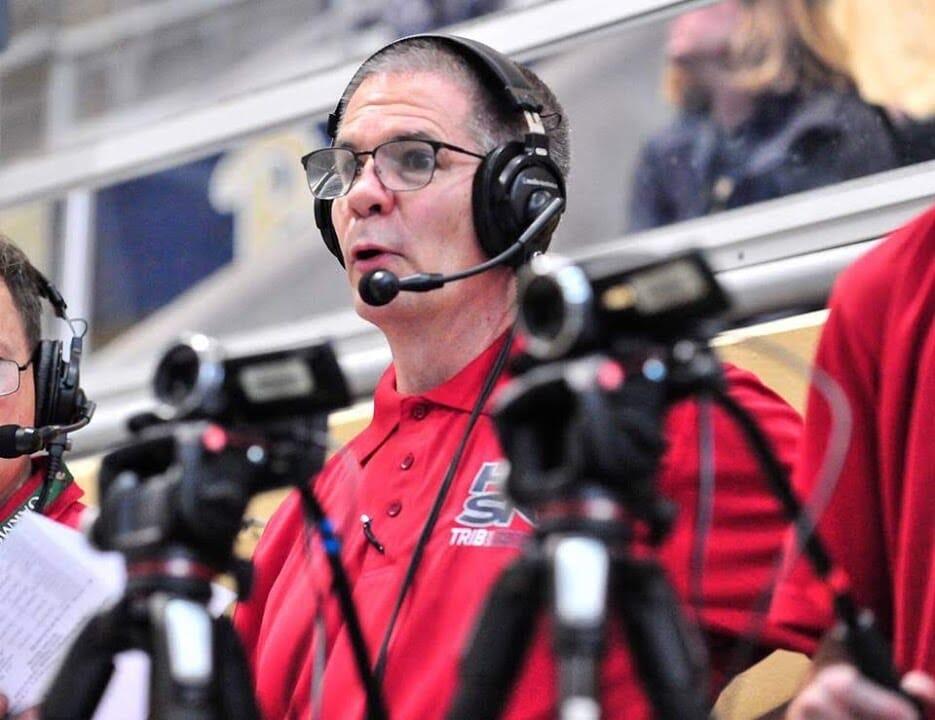Mark Rauterkus, broadcaster at the WPIAL Swim Championship Meet