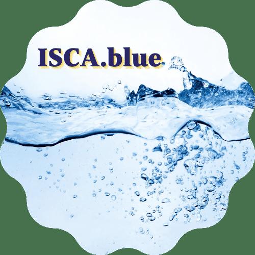 ISCA.blue logo in sticker frame